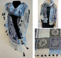 Fashion Scarf with Tassel Fringe [Mediterranean Pattern]
